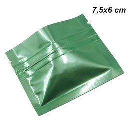 $enCountryForm.capitalKeyWord NZ - Glossy Green 7.5x6 cm Zip Lock Mylar Foil Aluminum Packaging Bags Reclosable Aluminum Foil Material Packing Pouch for Sample Giveaway Powder
