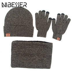 Hats Scarves Canada - NIBESSER Winter 3pcs Set Knitted Hat Glove Scarf For Men Fashion Warm Casual Unisex Female Scarves Sets Cap Set Outdoor Z30