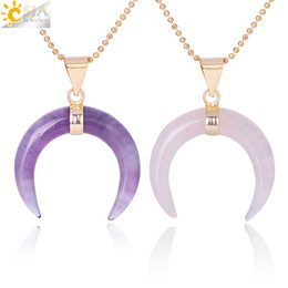 amethyst plates 2019 - CSJA Natural Stones Crescent Half Moon Necklaces Pendant Amethyst Rose Quartz White Stone Gold Color Reiki Women Charm J