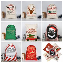 Drawstring bags for kiDs online shopping - 24 colors Christmas Gift Bags Large Organic Heavy Canvas Bag Santa Sack Drawstring Bag With Reindeers Santa Claus Sack Bags for kids MMA344