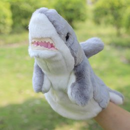 Tubarão bonito mão fantoche de mão crianças tubarão jogo de pelúcia mão jogando brinquedos desenvolvimento macio dos desenhos animados tubarão animais de pelúcia boneca divertido brinquedos venda por atacado