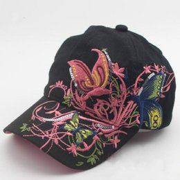 b4bae3393d7 Korean Butterfly Embroidery Children Hip Hop Baseball Cap Candy colors  Summer Hat Boys Girls snapback Caps
