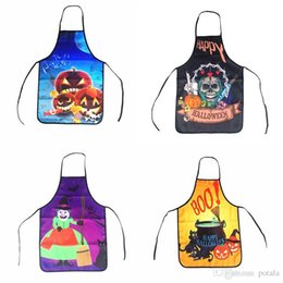 Wholesale 48 CM Halloween Aprons Black Cat Witch Skull Pumpkin Printing Adult Kitchen Apron Dinner Festival Party Cooking Apron Cuisine Child kids
