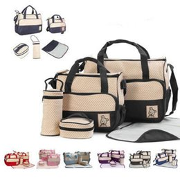 Diaper bags polka Dots online shopping - Baby Diaper Bag Set For Mummy Bag Baby Bottle Holder Stroller Maternity Nappy Bags Colors Cross Body Outdoor Bags OOA5542