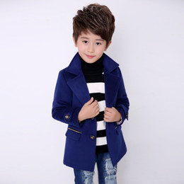 kids blazers UK - Wool Coat For Boys Woolen Outerwear Boys Winter Jacket Children Clothing warm boy blazer thicken kids clothes B051