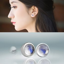 Wholesale New simple natural Moonstone tremella nail compact blue crystal transparent earphone ladies S925 silver jewelry