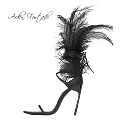 $enCountryForm.capitalKeyWord UK - Arden Furtado summer high heels 12cm white ostrich feather stilettos sexy open toe ankle strappy sandals women's shoes ladies