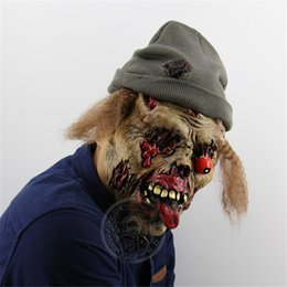 halloween horror mask wholesale Canada - Cosplay Halloween Carnival mask Zombie Horror Disgusting adult mask with hat Goblin Halloween Bar Haunted House Props