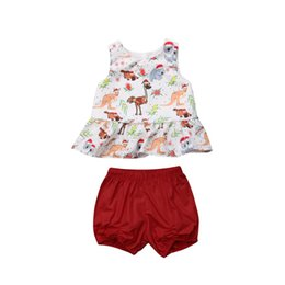 $enCountryForm.capitalKeyWord NZ - 2018 HOT Toddler Kids Baby Girl Christmas Suit Cartoon Print Tops Dress+Shot Pants Trousers Cute Summer Clothes Set