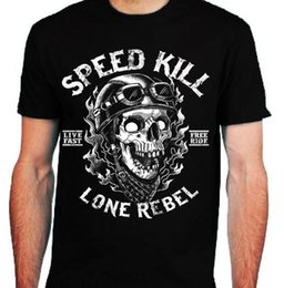 Speed S NZ - Speed Kill T-Shirt mens S-2XL Biker tee skull motorcycle rock bike lone rebel