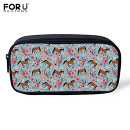 China FORUDESIGNS Cosmetic Bag Children Pencil Case Flowers Horse Printed Makeup Bag Organizer for Girls Capacity Toiletry Pen supplier blue print pens suppliers