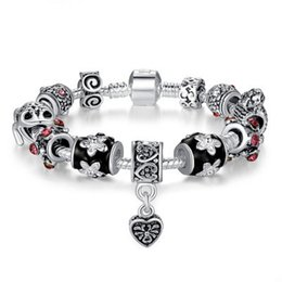 $enCountryForm.capitalKeyWord NZ - 2018 New Hot European Charm Bracelets For Women Tibetan Silver Chain Bracelets & Bangles DIY Love Plum Beads Bracelet