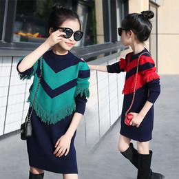 thicker dress 2019 - kids girls 4...12 1516 years dress fashion long sleeve knitted sweater teens girl Winter Thicker warm tassel stripe paty