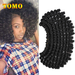 Curl Hair Curling Wand Australia - TOMO Synthetic Crochet Ombre Braided Jumpy Wand Curl Crochet hair Jamaican Bounce African Braiding Hair Extensions Kanekalon 20roots pack