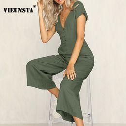 Elegant Jumpsuits Sleeves Australia - VIEUNSTA Sexy Deep V Neck Buttons Jumpsuits Women 2018 Female Short Sleeve Solid Beach Rompers Summer Elegant Wide Leg Jumpsuit