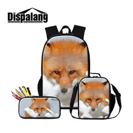 Wholesale Dispalang Fox Print Backpack for Women Men Aniaml School Bags For Girls Boys Kids Backpacks Shoulder Cooler Bags Sac A Dos