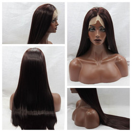 $enCountryForm.capitalKeyWord NZ - Popular Dark Brown 2# Long Silky Straight Full Lace Wigs with Baby Hair Heat Resistant Glueless Synthetic Lace Front Wigs for Black Women