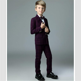 bfb88818e0 2018 Best Selling Children Wedding Tuxedos Suits British Style Damier Boy's  Formal Wear Party Prom Gowns(Jacket+pants+waistcoat+bow-tie))