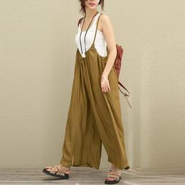 4ddab68861da Cotton Linen New Women Overalls Wide Leg Pants Vocation Dungarees Casual  Cotton Linen Jumpsuits Long Trousers Plus Size Rompers