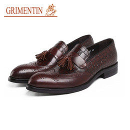 $enCountryForm.capitalKeyWord NZ - GRIMENTIN Genuine Leather Crocodile Grain Men Loafers Fashion Tassel Designer Black Brown Slip On Formal Business Dress Mens Shoes DVS
