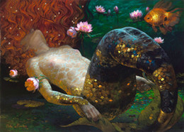 Wholesale Victor Nizovtsev Oil Painting Dream fish Mermaid series Art Reproduction Giclee Print on Canvas Modern Wall art Home Art Decoration VN033