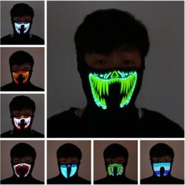 Wholesale 41 Styles EL Mask Flash LED Music Mask With Sound Active for Dancing Riding Skating Party Voice Control Mask Party Masks CCA10520