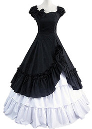 victorian short dress costume UK - Wholesale-Black White Short Sleeves Side Ruffled Cotton Victorian Lolita Dress Cosplay Costume