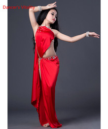Royal Performance Suits Australia - Child Girls Belly Dance Spandex Sexy High Split Dress Suit Performance Competition Practice Costume for Belly Rumba Tango Samba Indian Dance