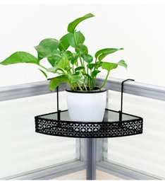 Wrought Iron Flowers UK - Wrought Iron Wall-mounted Tripod Storage Shelf Office Desktop Plants' Small Flower Shelf and Bathroom Shelves
