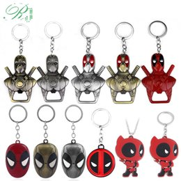 superhero keychains Canada - RJ 10Pcs DC Anime 3D Deadpool Mask Bottle Opener Keychains Men Car Xmas Gift Movie Superhero Keyring Souvenir Cosplay Jewelry