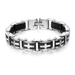 c314b57a33a2 2018 moda para hombre pulseras de acero inoxidable cruzada pulsera de  silicona masculina brazaletes joyería de cadena punky para los hombres  mejores regalos