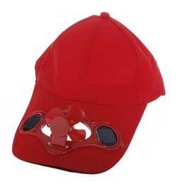 Solar Fan Camping Australia - JHO-Red Solar Powered Air Fan Cooled Baseball Hat Camping Traveling