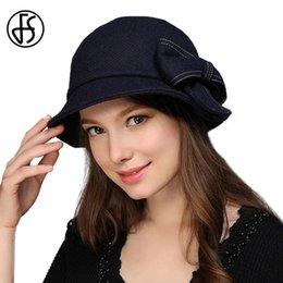 1a55c2c5a08ec FS 2017 Winter Autumn Wool Felt Hat Wide Brim Elegant Bow Hat For Women  Basin Fisherman Cap Chapeu De Feltro Feminino