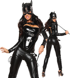 Discount wild woman costume - Fetish Clubwear Halloween Dress Sexy wild cat Siamese cat girl bronzing Cosplay black Catwoman Costume Party dress CA010