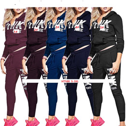 $enCountryForm.capitalKeyWord NZ - HTS88 5colors Casual Women's Autumn and Winter Printing Set PInk Letter Printing Loose Tracksuit With Pocket zipper Hoodies Pant Set S-3XL