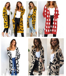 Leopard Sweaters Canada - Women Winter Clothes Leopard Cardigan Long Length Warm Woolen Sweaters Red Christmas Deer Warm Cardigan Free Shipping