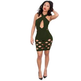 2017 Summer Sexy Women Bodycon Dress Cross Bandage Neck Hollow Out Sundress  Sleeveless Solid Party Clubwear Cross Mini Dresses faf6c31b3f24