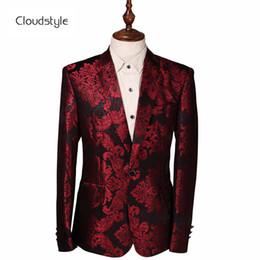 Toptan satış Cloudstyle 2018 Kostüm Erkek Ceket Şarap Kırmızı Çiçek Baskı Groomsmen Düğün Blazers Akşam Parti Elbise Suit Blazer Masculino
