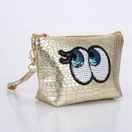 $enCountryForm.capitalKeyWord NZ - Travel Cosmetic Bag Cartoon Cute Eyes Makeup Case Women Zipper Make Up Handbag Organizer Storage Pouch Toiletry Wash Kit Bags