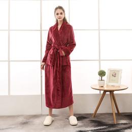 Wholesale thick long robe for sale - Group buy 2018 Plus Size Autumn Winter Female Bathrobe Sleepwear Women Long Flannel Robe Lovers Bathrobe Thick Homewear