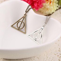 harry potter necklace hallows 2019 - 100pcs Harry Book The Deathly Hallows Necklace Antique Silver Bronze Gold Deathly Hallows Pendants Potter Fashion Jewelr