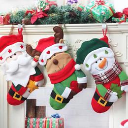 discount family christmas stockings 2018 new christmas pendant decorations stockings gift bag for children elk