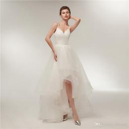 9617451340be Elegant Summer Wedding Dresses With Straps Sexy V Neck Hi Lo Wedding Gown  2018 Bridal Dress Custom Made Tulle Dress
