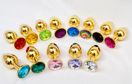 mini anal butt plug NZ - Gold Metal Mini Anal Toys Butt Plug Booty Beads Stainless Steel+Crystal Jewelry Sex Toys,Sex products 82X34mm by DHL