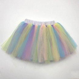 Chinese  Unicorn Rainbow Girls Costume Tulle Ballerina Dance Skirts Princess Birthday Party Kids Costumes Tutu Skirt manufacturers