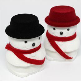 $enCountryForm.capitalKeyWord NZ - 5pcs Wholesale Lovely Christmas Snowman Design Velvet Ring Box Cute Propose Rings Storage Container Box