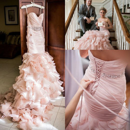 layered wedding gowns beads Australia - Blush Pink Wedding dresses Sweetheart Tiered Layered Organza Mermaid Crystal Beaded Belt Lace-up Corset Country Wedding Gown