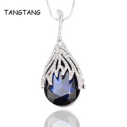 $enCountryForm.capitalKeyWord Australia - whole saleUnique Women High End Jewelry Set White Golden Plated Royal Blue Crystal Necklace + Earrings Exquisite Luxurious Fashion Jewelry