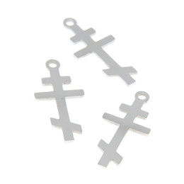 Chinese  5pcs lot Orthodox Cross charm Christian Byzantine Cross Stainless steel Charm pendant 28x13mm manufacturers