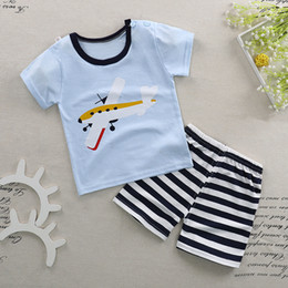 $enCountryForm.capitalKeyWord Canada - 2018 Boy Pajamas Kids Summer Clothing Children Underwear Cartoon Letter T-shirts+Shorts Boys Sleepwear Kids Pajamas Sets BN-011